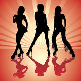 Sexy woman silhouettes. Vector sexy woman silhouettes in red Royalty Free Stock Images
