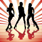 Sexy woman silhouettes. Vector sexy woman silhouettes in red Stock Images