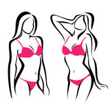 woman silhouettes, underwear Stock Photo