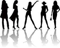 Sexy woman silhouettes - vector. Illustration Royalty Free Stock Photo