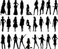 woman silhouettes - vector Royalty Free Stock Photos