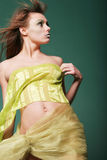 Woman in silk. Woman wrapped in silk royalty free stock image