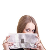 Sexy woman with silver purse Stock Photos