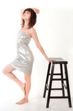 Sexy Woman in Silver Tube Dress Stock Photo