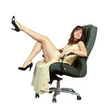 woman sitting on  armchair Royalty Free Stock Images