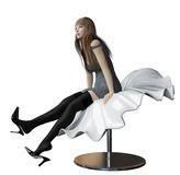 Sexy woman sitting in a futuristic bench Royalty Free Stock Photos