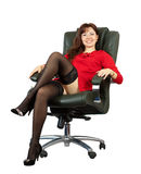 Sexy woman sitting on  office armchair Stock Photography