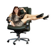 Sexy woman sitting on  office armchair Royalty Free Stock Photos