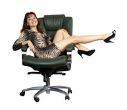 Sexy woman sitting on  office armchair Stock Images