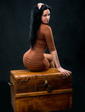 Sexy woman sitting on a wooden chest Stock Image