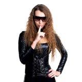woman in skintight latex Stock Photo