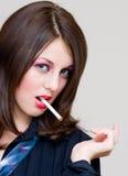 Sexy woman smoking Stock Image
