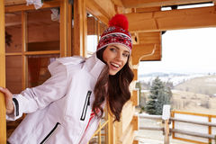Sexy woman with snowboard outdoors . Stock Image
