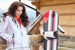Sexy woman with snowboard outdoors . Royalty Free Stock Photography