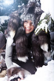 woman in snowy winter outdoors Stock Photos