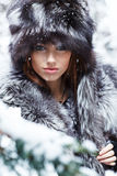 Sexy woman in snowy winter outdoors Royalty Free Stock Photography