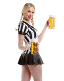 Sexy woman in soccer referee style Royalty Free Stock Photography
