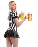 Sexy woman in soccer referee style Royalty Free Stock Images