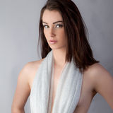 Sexy Woman With Sparkly Scarf as Top Royalty Free Stock Photos