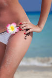 Sexy woman standing at beach Royalty Free Stock Photography