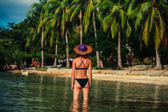 Sexy woman standing in water on tropical beach Royalty Free Stock Images