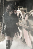 woman and steam train Stock Photos