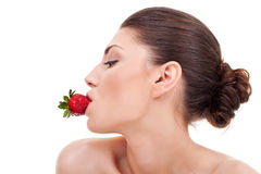 Sexy woman with strawberry in mouth Royalty Free Stock Photography