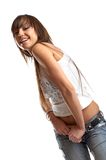 Sexy woman in studio. Sexy young woman over white background - Fashion session Stock Photo