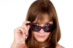 Sexy Woman and Sunglasses. On white background Royalty Free Stock Image