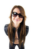 Sexy woman with sunglasses and leather jacket. Over white Stock Image