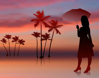 Sexy woman on sunset background with trees Royalty Free Stock Photo