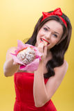 Sexy woman with sweets Royalty Free Stock Image