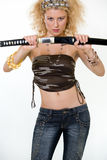 Sexy woman with sword Royalty Free Stock Images