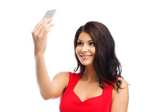 Sexy woman taking selfie picture by smartphone Royalty Free Stock Image