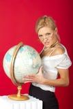 woman teacher with globe Royalty Free Stock Photo
