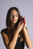Sexy woman in Temptation winery grape Royalty Free Stock Image