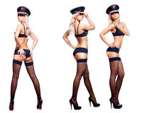 Sexy woman in three poses Royalty Free Stock Photography
