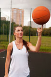 Sexy Woman Throw Basketball Stock Image