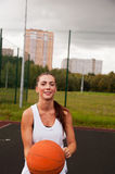 Sexy Woman Throw Basketball Stock Images