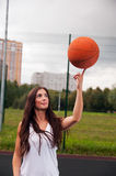 Sexy Woman Throw Basketball Stock Photo