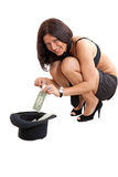 Sexy woman with top hat and money Stock Photo