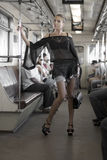 Sexy woman in the train Stock Images