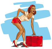 Sexy woman with a travel suitcase Stock Image