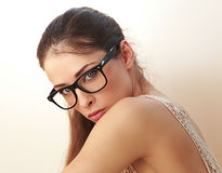 Sexy woman in trendy glasses looking Royalty Free Stock Images