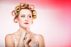 Sexy woman in underwear curlers with beads Royalty Free Stock Image