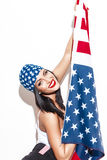 Sexy woman with USA flag posing Royalty Free Stock Photo
