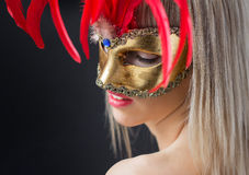Sexy woman in venetian carnival mask Royalty Free Stock Photography