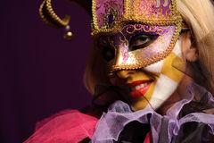 Sexy woman in violet party mask Royalty Free Stock Image