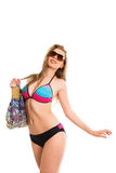 Sexy woman walking on beach Royalty Free Stock Photos