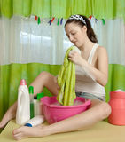 Sexy woman washes Stock Photo